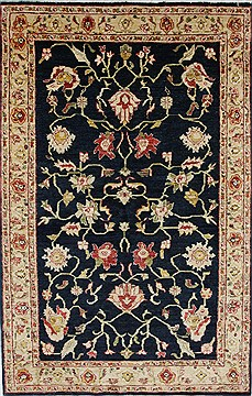Pakistani Pishavar Beige Rectangle 5x8 ft Wool Carpet 27134