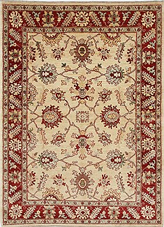 Pakistani Chobi Beige Rectangle 5x7 ft Wool Carpet 27142