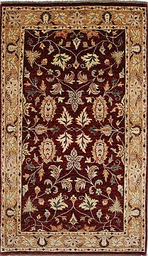 Pakistani Pishavar Beige Rectangle 5x8 ft Wool Carpet 27180