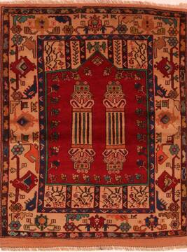 "Kazak Red Hand Knotted 3'9"" X 4'7""  Area Rug 100-27211"