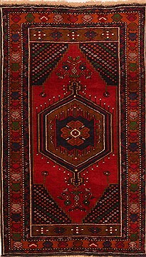 "Kazak Red Hand Knotted 3'3"" X 5'7""  Area Rug 100-27238"