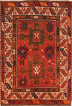 "Kazak Red Runner Hand Knotted 4'8"" X 9'7""  Area Rug 100-27341"