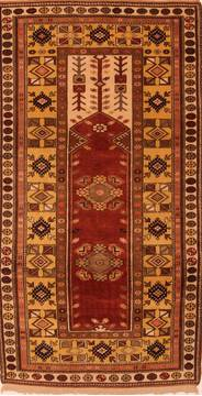 "Kazak Red Hand Knotted 3'9"" X 7'2""  Area Rug 100-27462"