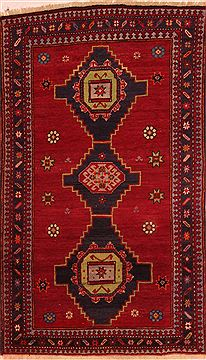 "Kazak Red Hand Knotted 3'11"" X 6'8""  Area Rug 100-27469"