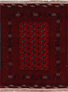 Indian Kunduz Red Rectangle 3x4 ft Wool Carpet 27486