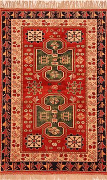 "Kazak Red Hand Knotted 4'6"" X 7'1""  Area Rug 100-27525"