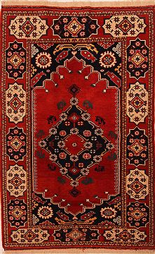 "Kazak Red Hand Knotted 4'2"" X 6'7""  Area Rug 100-27527"