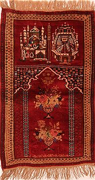 "Kizalayak Red Hand Knotted 2'11"" X 5'1""  Area Rug 100-27546"