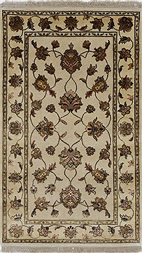 Indian Kashmir Beige Rectangle 3x5 ft Wool Carpet 27578