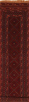 Afghan Baluch Red Runner 6 to 9 ft Wool Carpet 27598