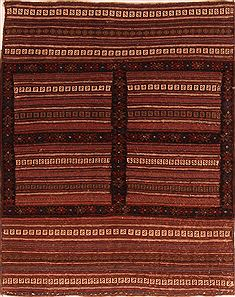 "Kilim Red Square Flat Woven 3'7"" X 4'6""  Area Rug 100-27602"
