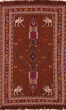 "Afshar Brown Hand Knotted 3'5"" X 5'5""  Area Rug 100-27634"