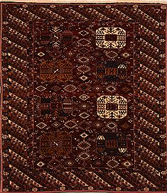"Kurdi Red Square Hand Knotted 6'10"" X 7'11""  Area Rug 100-27704"