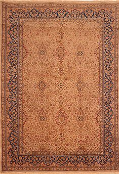 "Kerman Beige Hand Knotted 6'1"" X 8'10""  Area Rug 100-27717"