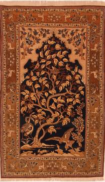 "Qum Brown Hand Knotted 4'8"" X 7'8""  Area Rug 100-27720"