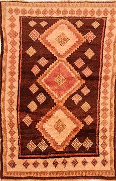 "Gabbeh Brown Hand Knotted 3'7"" X 5'9""  Area Rug 100-27722"