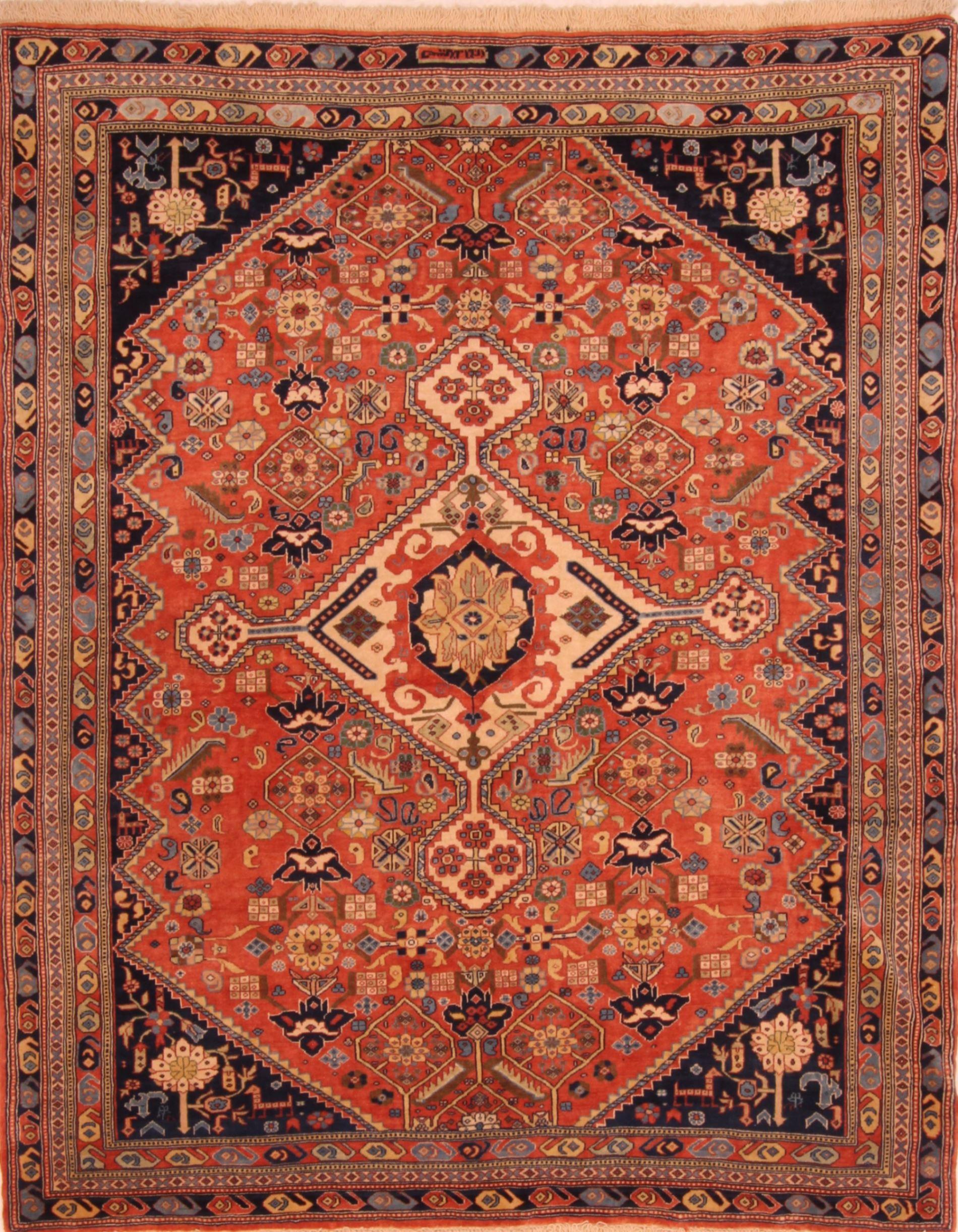 Persian Ghashghaei Red Rectangle 5x7 Ft Wool Carpet 27726 Area Rug