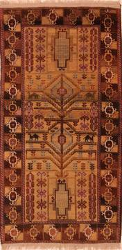 "Baluch Brown Hand Knotted 3'4"" X 6'6""  Area Rug 100-27767"