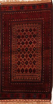"Baluch Brown Hand Knotted 3'8"" X 6'10""  Area Rug 100-27828"