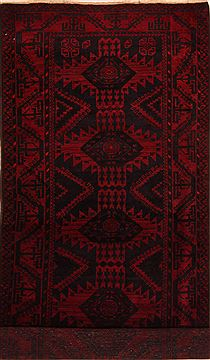 "Baluch Red Runner Hand Knotted 4'1"" X 9'6""  Area Rug 100-27840"