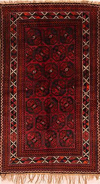Afghan Baluch Red Rectangle 4x6 ft Wool Carpet 27859