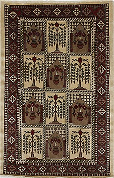 Persian Malayer Brown Rectangle 3x5 ft Wool Carpet 27891