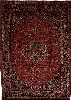Persian Mashad Red Rectangle 7x9 ft Wool Carpet 27895