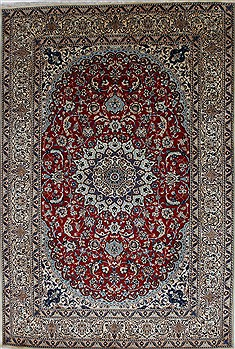 "Nain Blue Hand Knotted 6'6"" X 9'8""  Area Rug 100-27899"