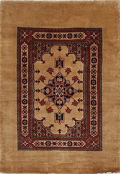 "Ardebil Red Hand Knotted 4'7"" X 6'8""  Area Rug 100-27901"