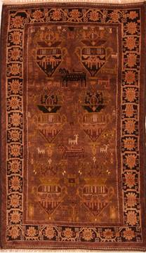 "Baluch Brown Hand Knotted 3'4"" X 6'4""  Area Rug 100-27908"