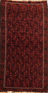 "Baluch Red Hand Knotted 3'7"" X 6'2""  Area Rug 100-27929"