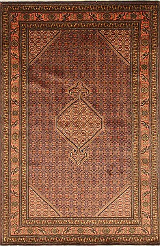"Ardebil Purple Hand Knotted 6'4"" X 9'8""  Area Rug 100-27951"