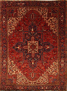 Persian Heriz Red Rectangle 8x11 ft Wool Carpet 27963