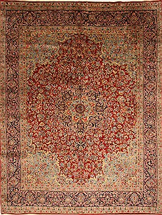 Persian Kerman Red Rectangle 10x12 ft Wool Carpet 27983
