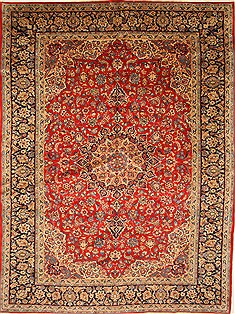 Persian Isfahan Red Rectangle 10x13 ft Wool Carpet 27996