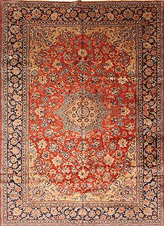 Persian Isfahan Red Rectangle 9x13 ft Wool Carpet 27999