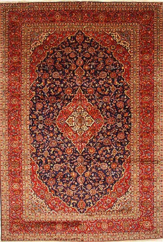 Persian Kashan Blue Rectangle 10x14 ft Wool Carpet 28017
