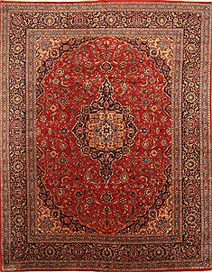 "Kashan Red Hand Knotted 9'8"" X 12'8""  Area Rug 100-28018"