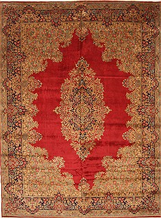 "Kerman Green Hand Knotted 9'8"" X 13'2""  Area Rug 100-28023"