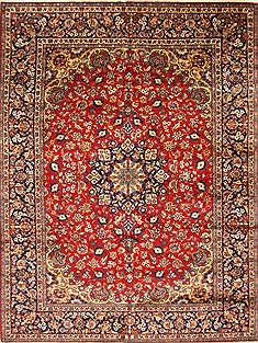 Persian Isfahan Red Rectangle 10x13 ft Wool Carpet 28024