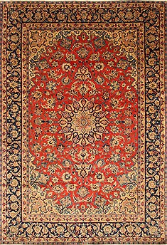 "Isfahan Red Hand Knotted 8'7"" X 12'6""  Area Rug 100-28028"