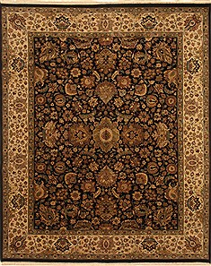 Indian Jaipur Black Rectangle 8x10 ft Wool Carpet 28037