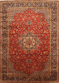 "Kashan Red Hand Knotted 9'6"" X 13'4""  Area Rug 100-28039"