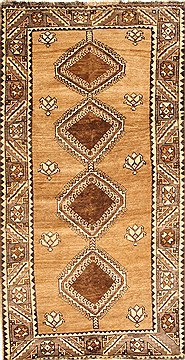 "Ghoochan Beige Hand Knotted 3'9"" X 7'1""  Area Rug 100-28059"