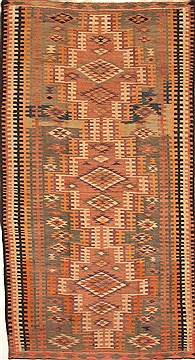 "Kilim Brown Runner Hand Knotted 5'5"" X 10'3""  Area Rug 100-28080"