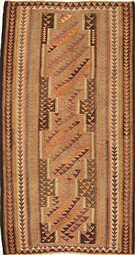 "Kilim Brown Runner Hand Knotted 5'2"" X 9'6""  Area Rug 100-28084"