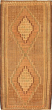 "Kilim Brown Runner Hand Knotted 4'4"" X 9'3""  Area Rug 100-28098"