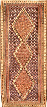 "Kilim Brown Runner Hand Knotted 4'5"" X 10'3""  Area Rug 100-28099"