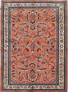 Persian sarouk Red Rectangle 5x7 ft Wool Carpet 28103