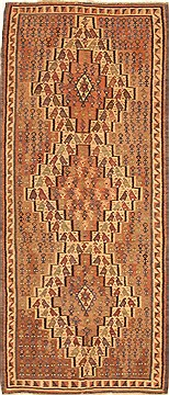 "Kilim Brown Runner Hand Knotted 3'9"" X 9'0""  Area Rug 100-28104"